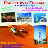 Dubai - Burj Khalifa - Abu Dhabi - Ferrari World - Dhow Cruise - Desert Safari