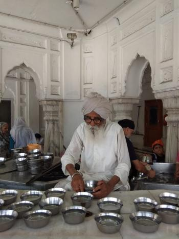 Sewa at gurudwara in old age.