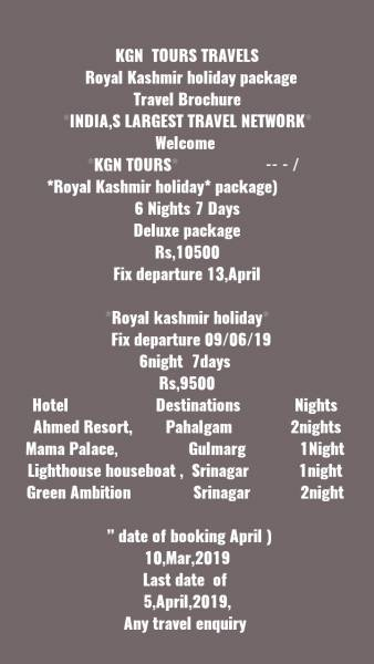 Kgn  tours Travels   royal Kashmir Holiday Package Travel Brochure *india,S Largest Travel Networ