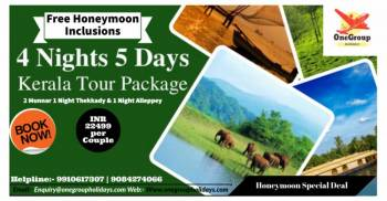 Kerala Honeymoon Special 4 Nights 5 Days with Free Honeymoon Inclusions